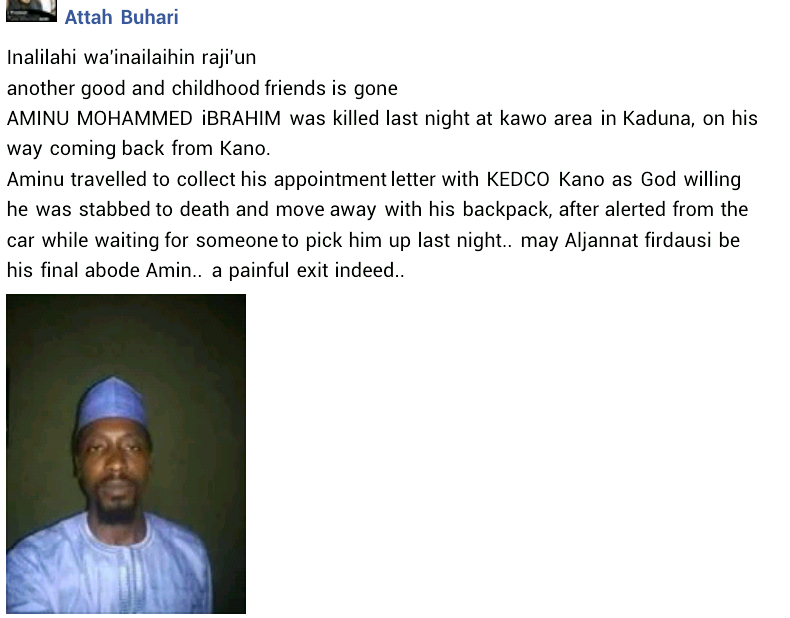 Phone snatchers stab son of former NTA DG to death in Kaduna a week after he received his employment letter