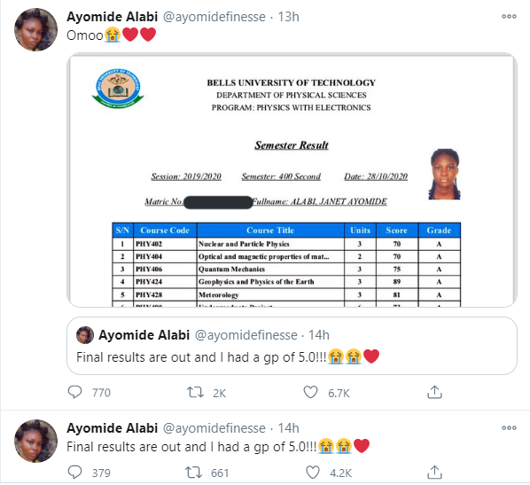 Nigerian lady celebrates having a GP of 5.0 in her final university results