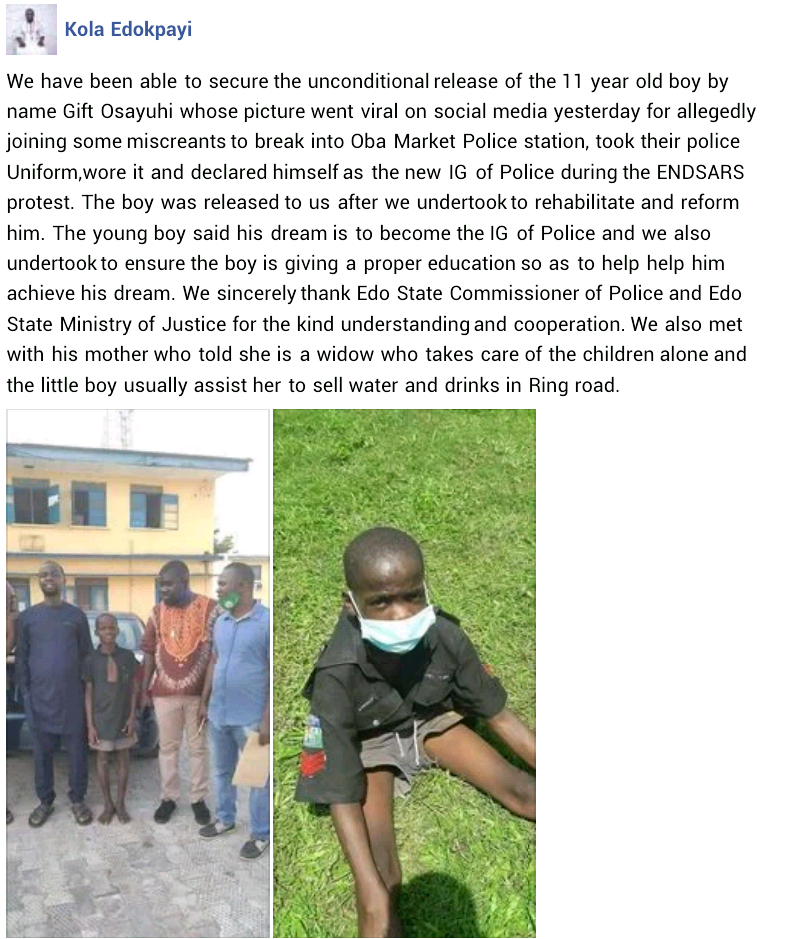 Update: Police release 11-year-old boy arrested over his alleged involvement in attack on Edo police station