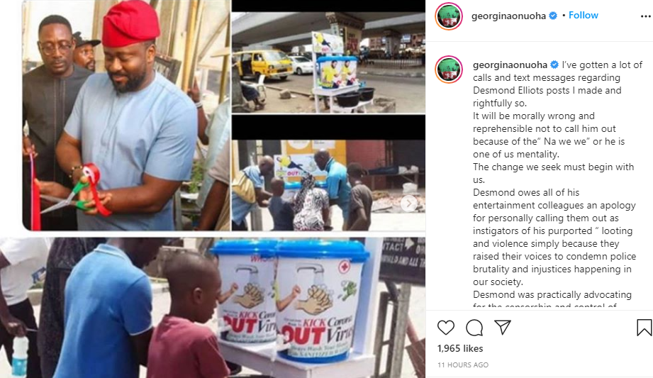 It will be morally wrong not to call him out because of the? Na we we? or he is one of us mentality - Georgina Onuoha continues dragging Desmond Elliot