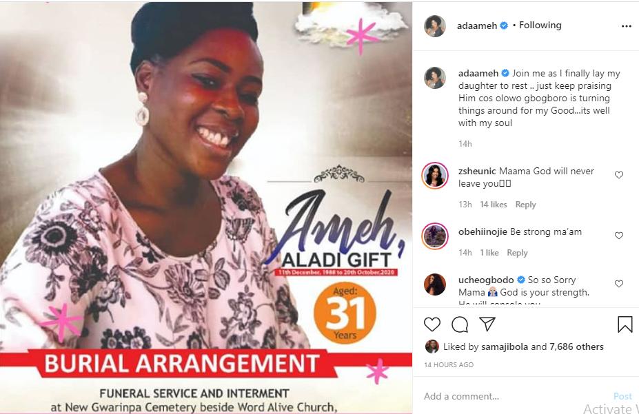 'The Johnsons' star, Ada Ameh shares obsequies of her late daughter lindaikejisblog