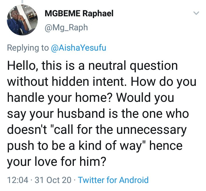 """""""My husband is the most practicing feminist"""" - Aisha Yesufu"""