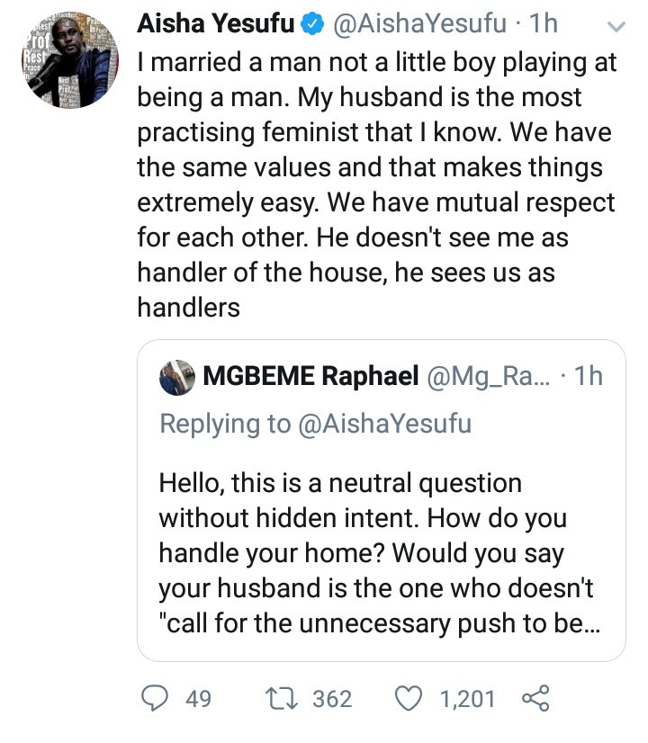 My husband is the most practicing feminist - Aisha Yesufu responds to Twitter user who asked how she handles her home