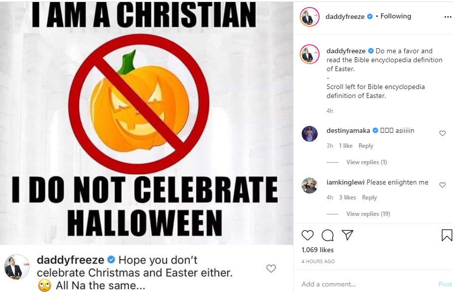 Halloween, Christmas and Easter are all the same ? Daddy Freeze lindaikejisblog 1