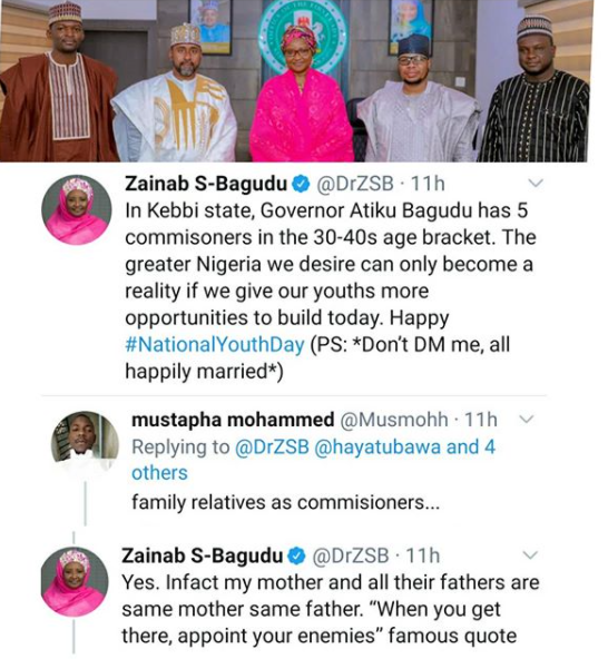 """When you get there, appoint your enemies"" Kebbi First lady reacts to allegations her husband, Abubakar Bagudu, appointed relatives as commissioners"