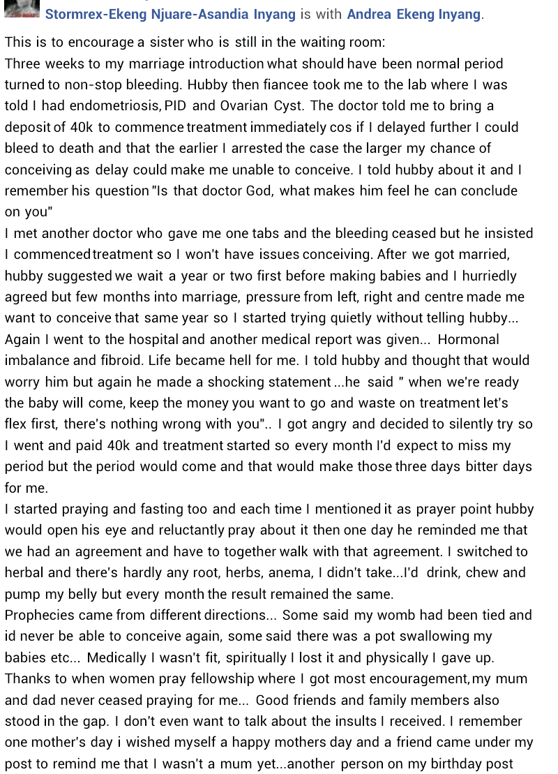 """""""Church members, friends mocked and insulted me""""- Nigerian woman who conceived after battling with endometriosis, Ovarian Cyst, shares her experience"""