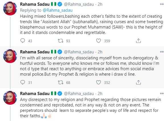 Any disrespect to my religion and Prophet Mohammed regarding those pictures remain condemned - Rahma Sadau reacts to backlash she received after posting photos of herself in backless dress