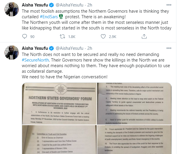 The insecurity in Kaduna is bad and life has no value - Aisha Yesufu calls out Governor El-Rufai