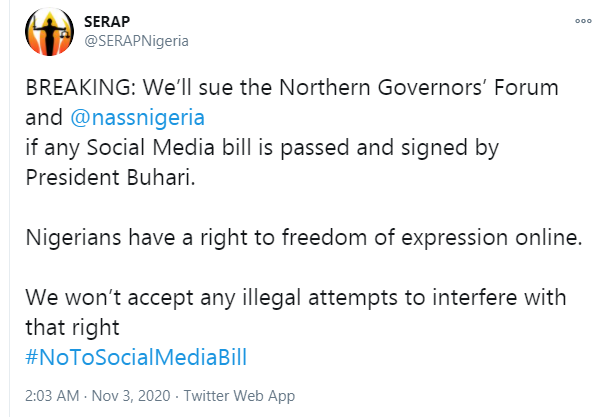 SERAP threatens to sue Northern Governors and NASS over social media bill lindaikejisblog 1
