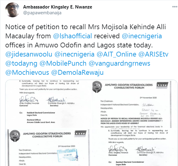 Field officers begin door-to-door campaign to gather enough signatures to officially commence recall of Mojisola Alli-Macaulay from Lagos House of Assembly
