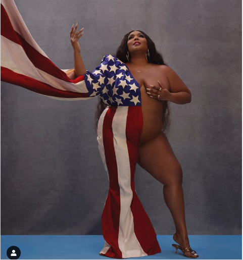 Singer, Lizzo sends a powerful message on election day with revealing photo of herself half-dressed in US flag
