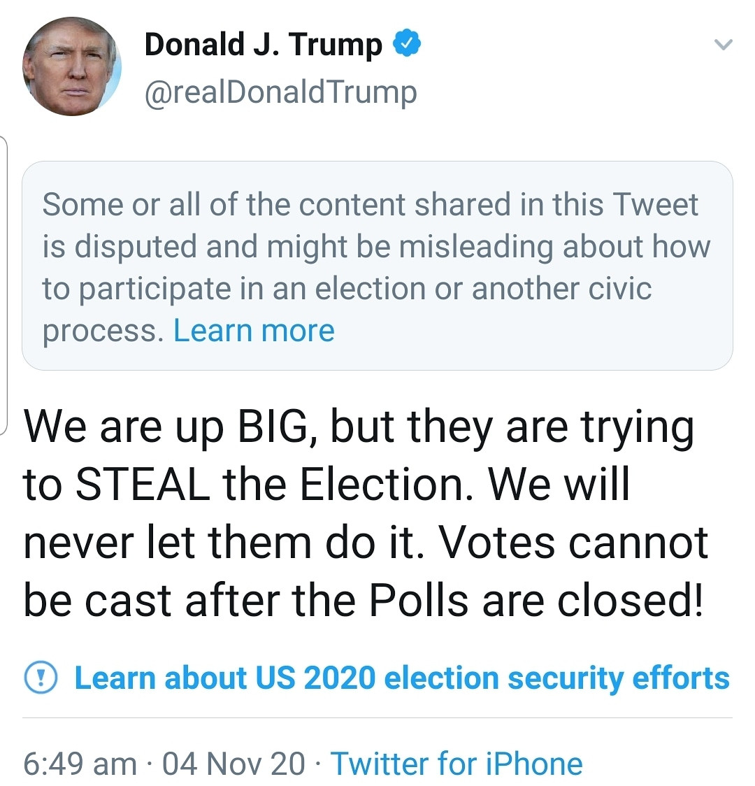 US Election: Twitter restricts Donald Trump