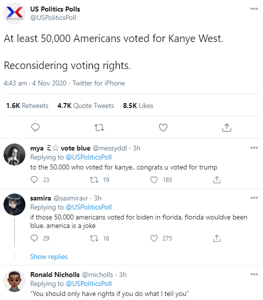 At least 50,000 Americans voted for Kanye West