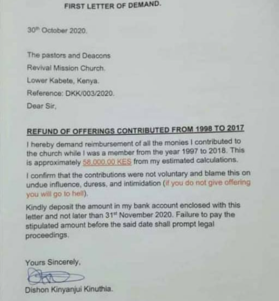 Man writes his former church to demand for refund of offerings he gave from 1998 to 2017