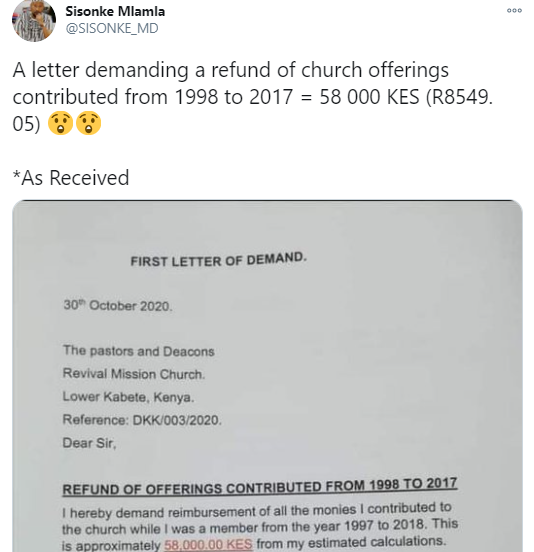 Man writes church to ask for refund of offerings he gave from 1998 to 2017