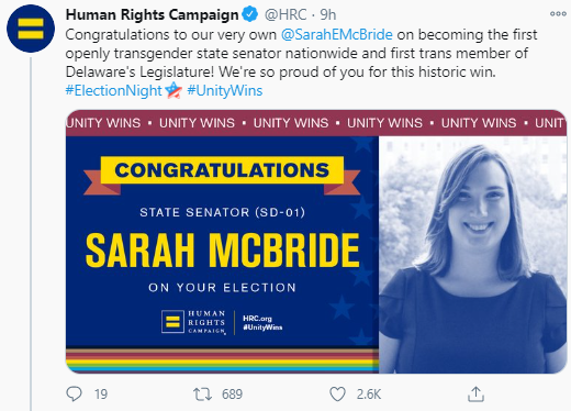 Sarah McBride makes history as first transgender woman to become a senator in the US