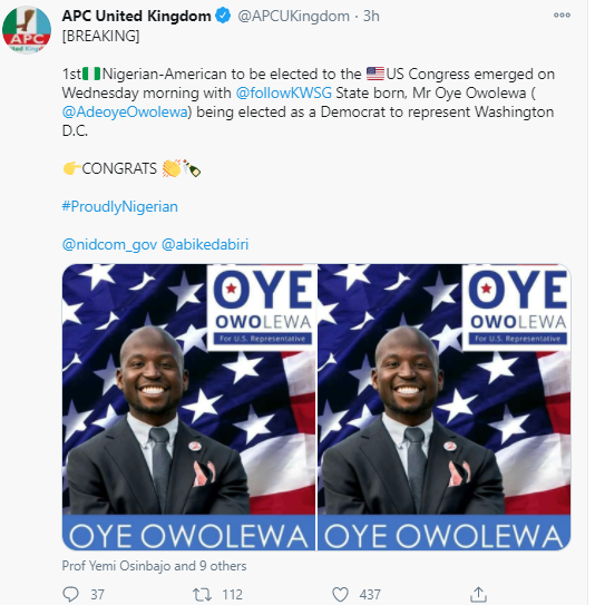 31-year-old Nigerian, Adeoye Owolewa has been elected to the United States Congress making him the first Nigerian to achieve this feat
