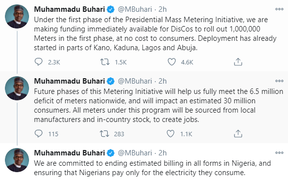We?re ending estimated electricity billing ? President Buhari
