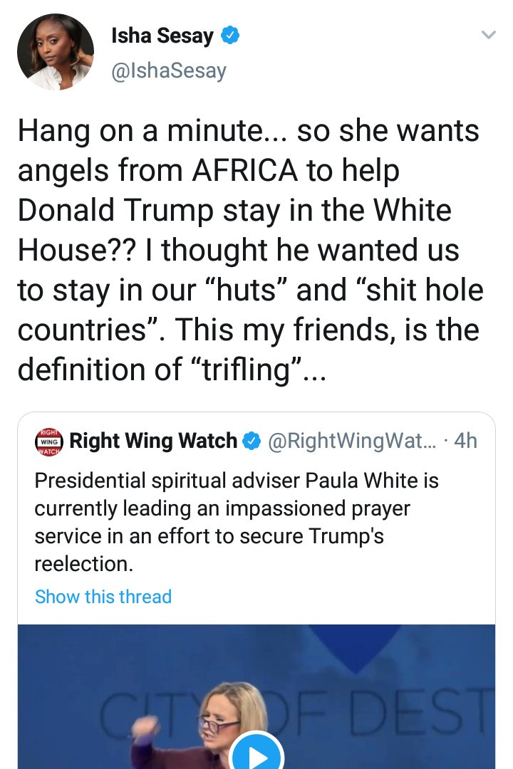 Hilarious reactions as Presidential spiritual adviser, Paula White, says while praying that angels are currently being released from Africa to secure Trump