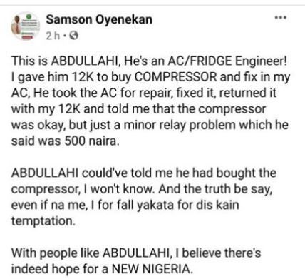 AC repairer praised for his transparency after he returned money given him to fix an AC when he noticed the issue was a minor one