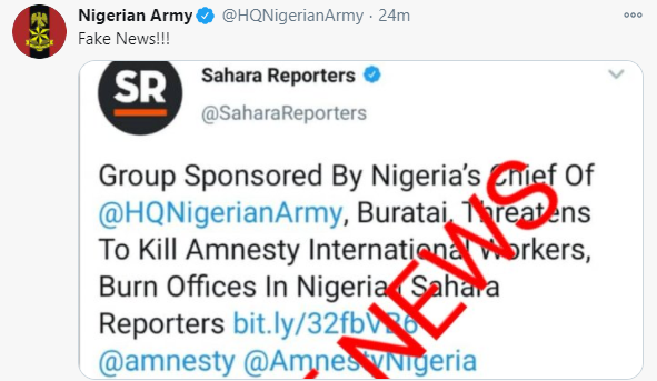 Nigerian Army denies reports claiming Buratai is sponsoring NGO threatening Amnesty International