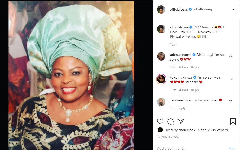 Actress Osas Ighodaro loses mother