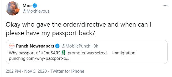 Who ordered the seizure of my passport - #EndSARS frontliner, Moe Odele fires back at Immigration lindaikejisblog 2