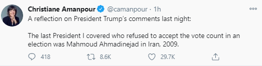 "Christiane Amanpour compares Trump to ex-Iranian President Mahmoud Ahmadinejad who ""refused to accept the vote count in an election"""