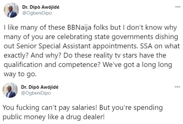 We've a long way to go if BBNaija Housemates are getting appointments from state governments — Nigerian lecturer says