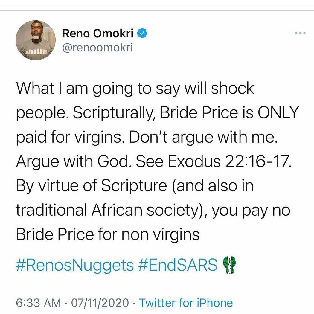 Scripturally, bride price is only paid for virgins - Reno Omokri