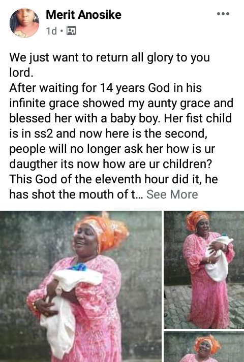 Nigerian woman gives birth to her second child after 14 years of awaiting