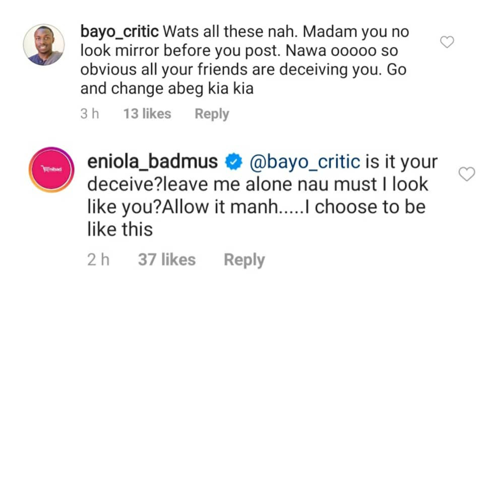 Actress Eniola Badmus replies troll who body-shamed her