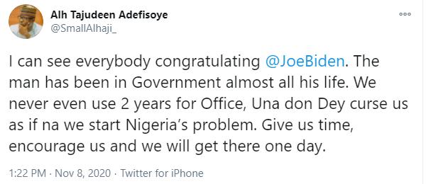 House of Reps members, Tajudeen Adefisoye, tackles Nigerians celebrating Joe Biden