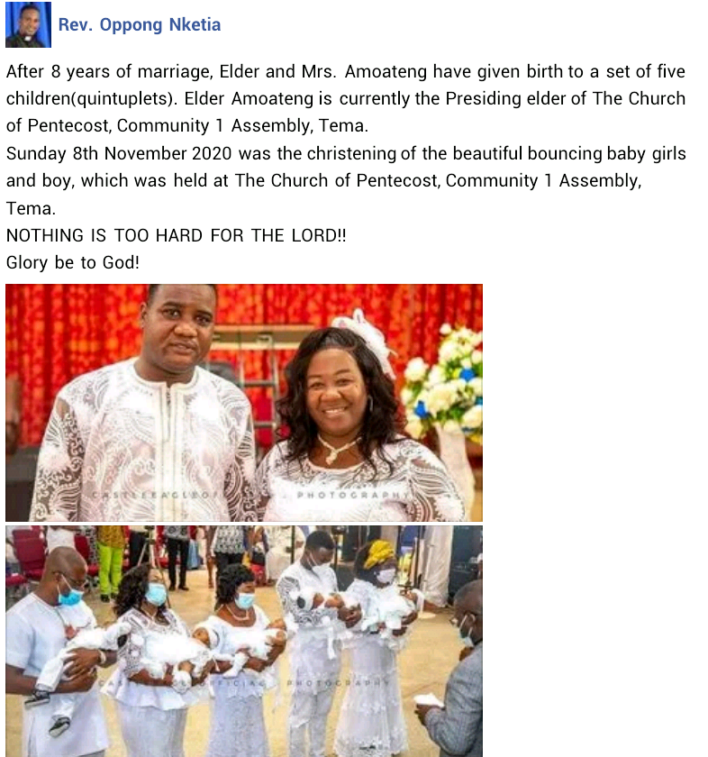 Ghanaian couple welcomes quintuplets after 8 years of childlessness