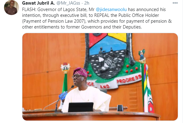 Governor Sanwo-Olu moves to stop payment of pension to former Lagos Governors and Deputies