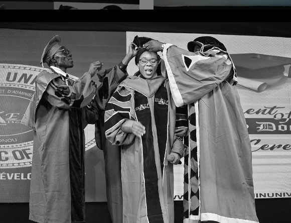 Dancer, Kaffy, bags honorary doctorate degree from ESCAE Benin university (photo)