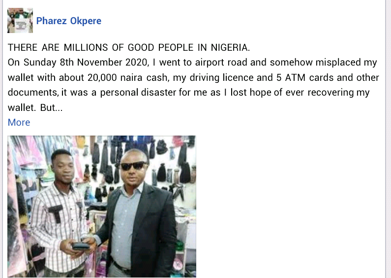 Young Nigerian man returns lost wallet with N20,000 cash and other valuables to owner