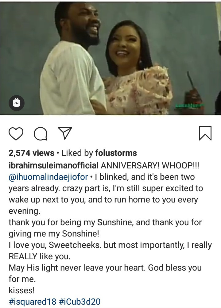 Ibrahim Suleiman celebrates wife Linda Ejiofor with beautiful words to mark second wedding anniversary