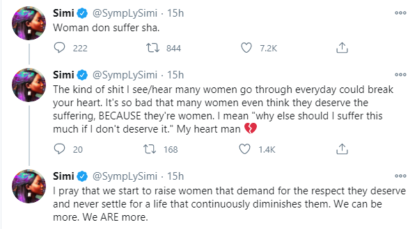 I pray we start to raise women that demand for respect they deserve and never settle for a life that continuously diminishes them - Simi