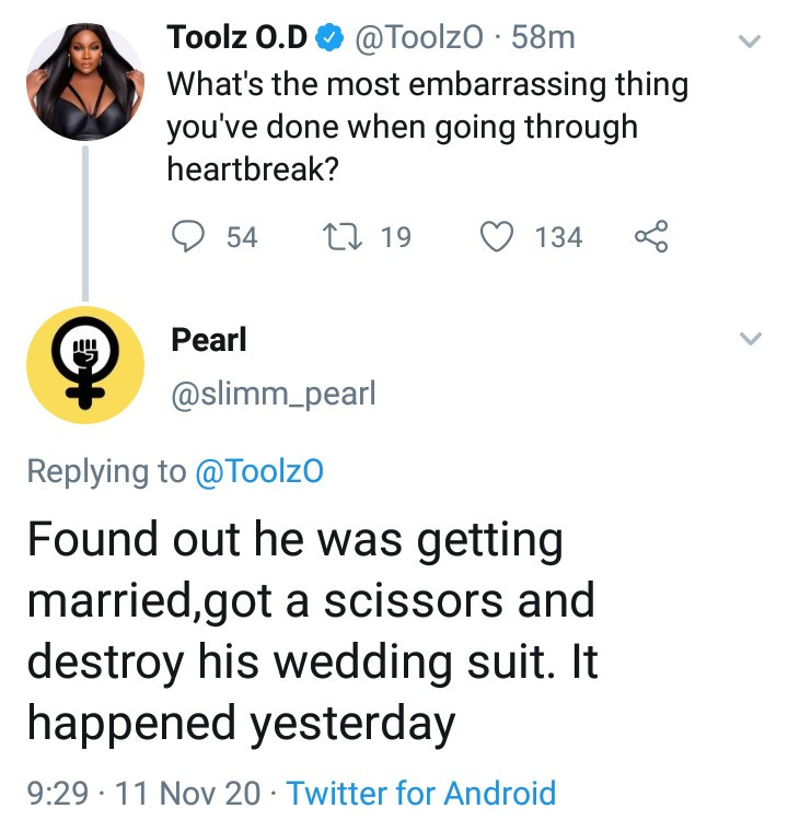 Woman narrates what she did when she found out her boyfriend was getting married to another woman
