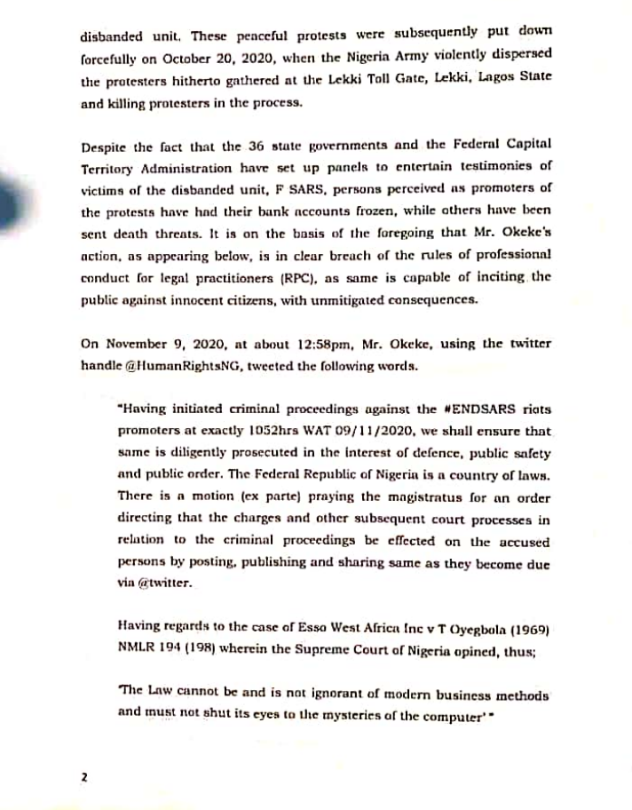 Activist, Deji Adeyanju petitions Legal Practitioners Disciplinary Committee over lawyer who filed lawsuit against him, Falz, Aisha Yesufu and other #EndSARS promoters