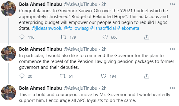 Bola Tinubu commends Governor Sanwo-Olu?s plan to stop ex-Lagos state governors? pensions