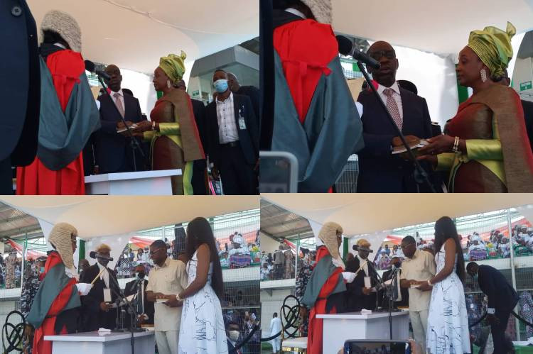 Governor Godwin Obaseki and his deputy, Philip Shaibu, sworn-in for a second term in office (photos)