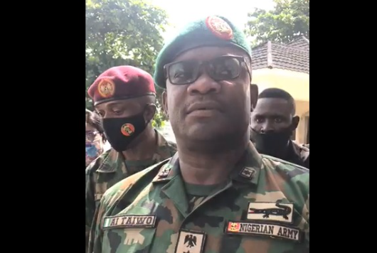 Soldiers were pelted with stones and bottles at Lekki toll gate - Brigadier-General AI Taiwo (video)