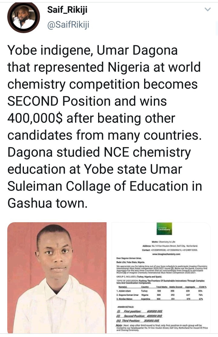Yobe indigene, Umar Dagona wins $400,000 after finishing second at world chemistry competition