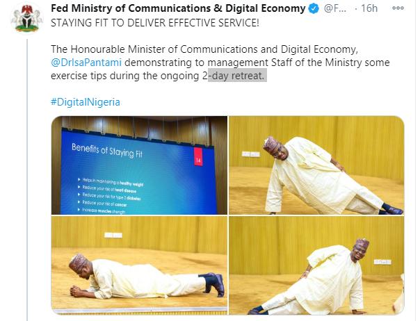 Minister of Communications and Digital Economy, Dr Isa Pantami demonstrates exercise tips in Kaftan lindaikejisblog 1