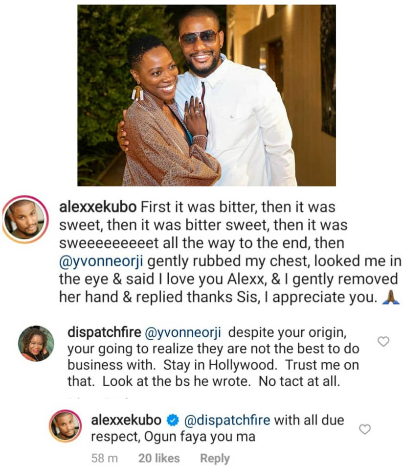 """Ogun fire you ma"" Alex Ekubo slams woman who adviced Nigerian-American actress Yvonne Orji to desist from working with him"