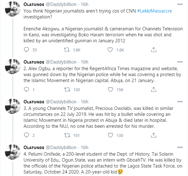 Twitter user compiles list of journalists who have been killed in Nigeria to counter comments by some that 'Nigerian journalists are not trying' following CNN documentary of the Lekki shooting