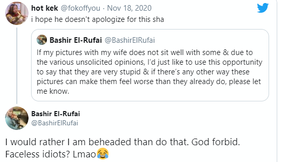 Lovedup photos: ?I would rather be beheaded than apologise?- Bashir El-Rufai tells critics