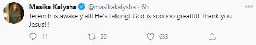 """Jeremih is awake"" Friend, Masika Kalysha gives update on the R&B singer"